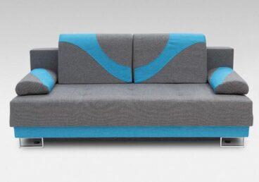 Julia kanapa szara z błękitnym uzupełnieniem. Rozkładana