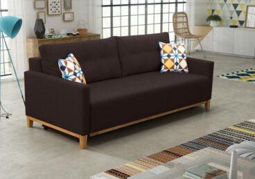 ADRIANA sofa brązowa trzyosobowa z bokami. Rozkładana.