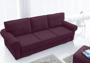BORIS fioletowa kanapa w angielskim stylu. Rozkładana