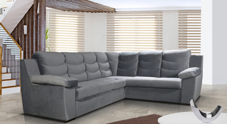 CLAUDINO to narożnik, idealny do minimalistycznych wnętrz. Posiada funkcję spania i pojemnik na pościel.