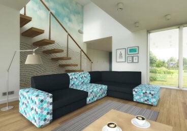 HERISSON stwarza wiele możliwości konstrukcyjnych, dzięki czemu każdy może dopasować go do pomieszczenia. Narożnik posiada funkcję spania i pojemnik na pościel.