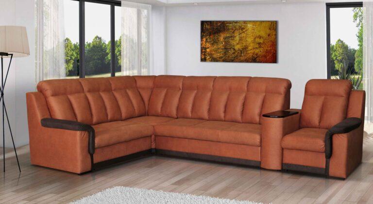 Narożnik EMILIAN B3 premium to narożnik połączony z fotelem jednym bokiem. Posiada funkcję spania i pojemnik na pościel. Dodatkowym atutem jest blat zamontowany na boku, służący np jako stolik kawowy.