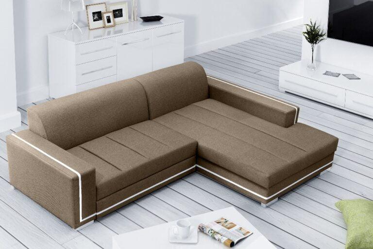 MELEK to narożnik tapicerowany z pojemnikiem na pościel i funkcją spania. Wbudowany ma do rozkładania powierzchni spania automat , szybki w obsłudze typu Delfin .