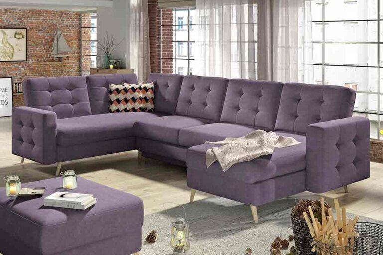 Narożnik DASGAR U w kształcie podkowy, tapicerowany w fioletowym kolorze.