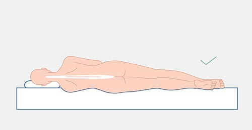 grafika z prostym kręgosłupem, dobrze dobrany materac