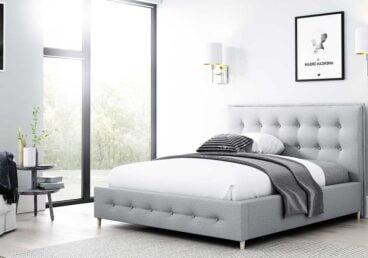 Tapicerowane łóżko z pikowanym w kratę zagłówkiem ASKER